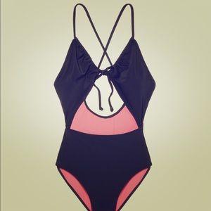 VS PINK swim bathing suit black tie cut out 1piece
